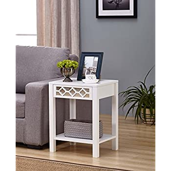 White Finish Glass Front Side End Table Nightstand With Bottom Shelf