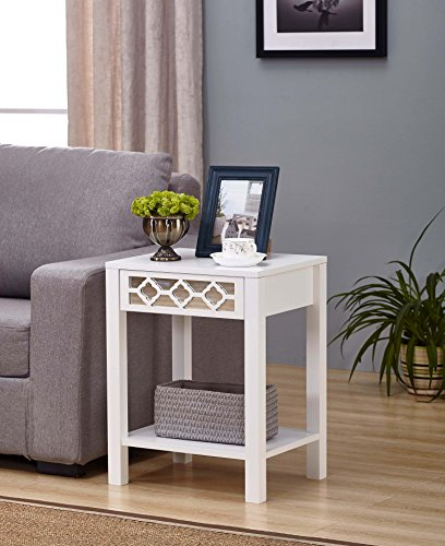 White Finish Glass Front Side End Table Nightstand with Bottom Shelf by eHomeProducts