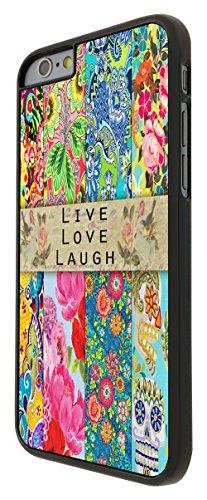 584 - Shabby Chic Vintage Live Love Laugh Floral Skull Case Design Design iphone 6 6S 4.7'' Coque Fashion Trend Case Coque Protection Cover plastique et métal - Noir