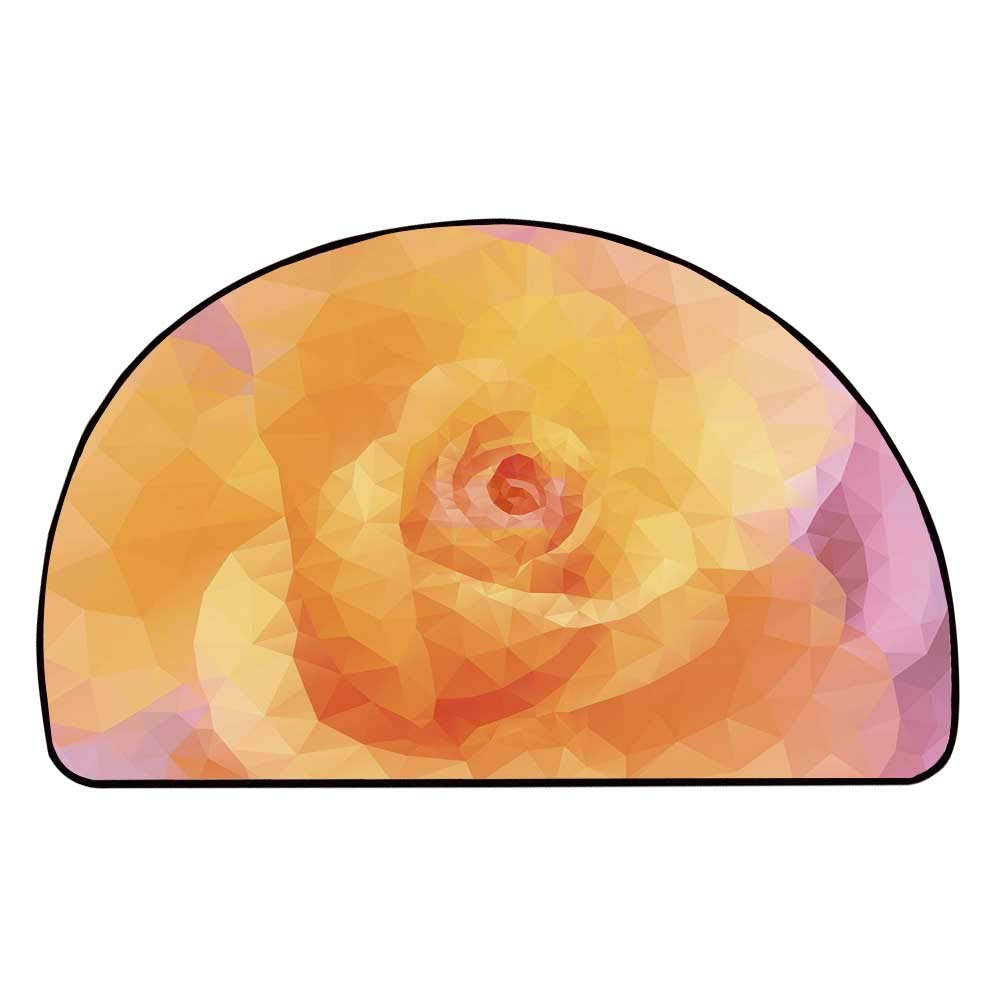 C COABALLA Peach Comfortable Semicircle Mat,Abstract Polygon Flower Design Triangles Geometric Shapes Valentines Day Inspired Decorative for Living Room,11.8'' H x 23.6'' L
