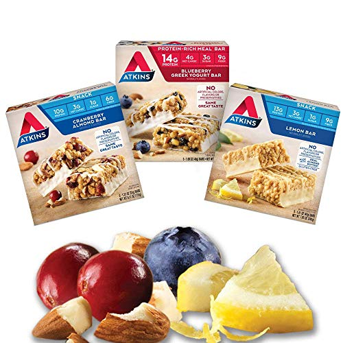 Atkins Fruit and Nut Bar Variety Pack. Sweet and Savory Meal & Snack Bars Made with Real Fruit and Nuts (3 Flavors, 15 Bars)