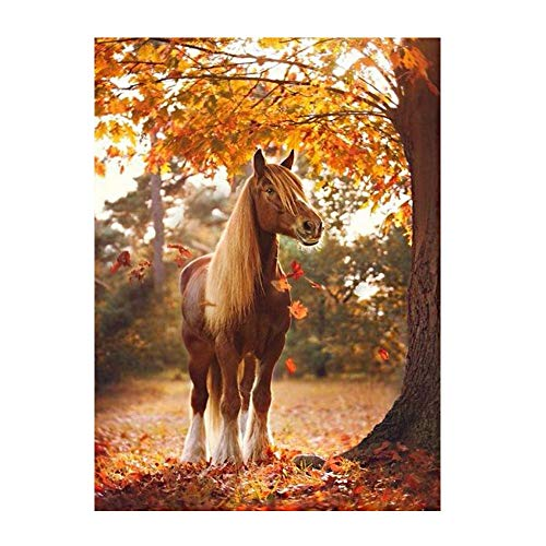 GMYANZSH Full Square Diamond Painting Horse Autumn Maple Grove Diamond Embroidery Cross Stitch Rhinestone Mosaic Needlework Gift -