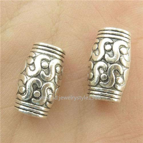 15770*35PCS Vintage Silver Alloy Tube Spacer Beads Charms For Necklace Hole3.8mm