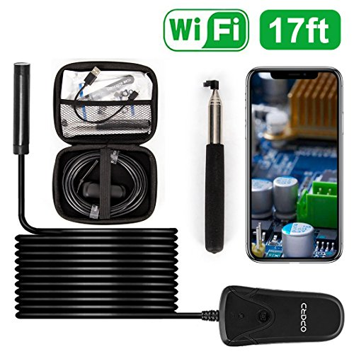 (Upgraded) Opard Wireless Endoscope WiFi Borescope 2.0 Megapixels 1080P HD Snake Inspection Camera IP68 Waterproof 8 LED Light for Apple iOS Android iPhone Mac Windows (16.5ft No Need - Kit Work Extended Maintenance Capacity