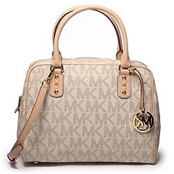 Michael Kors MK Signature PVC Large Satchel Bag Vanilla