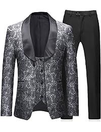 Mens 3 Pieces Tuxedos Vintage Groomsmen Wedding Suit Complete Outfits(Jackets+Vest+Trousers) Prom Formal Tuxedo Suit