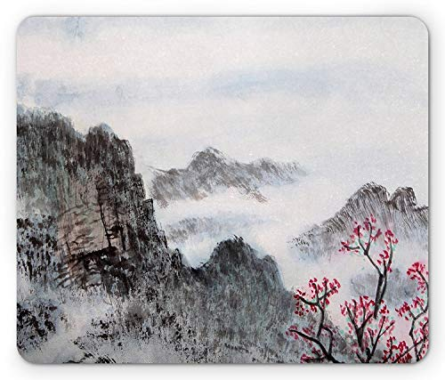 Asian Mouse Pad, Traditional Chinese Painting Landscape Sakura Cherry Tree Cloudy Mountains, Standard Size Rectangle Non-Slip Rubber Mousepad, Seal Brown White Red ()