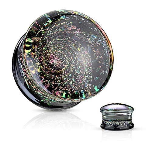 Ear Plugs Body Jewellery - Inspiration Dezigns Pair Double Flared Glass Plugs Gauges Multi Color Sparkle Galaxy (0G)