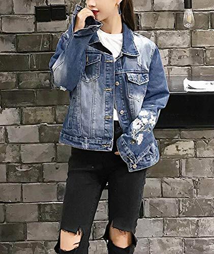 Jean Huateng Broderie Denim Femmes Bleu Manches Fonc Floral Longues UfYfPnqWH4