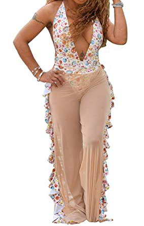 7e38f992d6 Felivia Mesh Swimsuit Cover Up Pants for Women Sheer Beach Sexy Swimwear  Coverup Pant See Through Swim Bikini Bathing Suit at Amazon Women's  Clothing store: