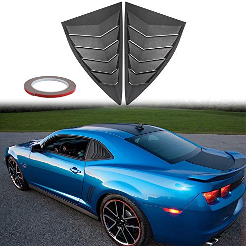 (E-cowlboy Quarter Side Window Scoop Louvers, Matte Black ABS Window Cover with Lambo Style GT 5 Vents for 2010-2015 Camaro LS LT RS SS GTS)