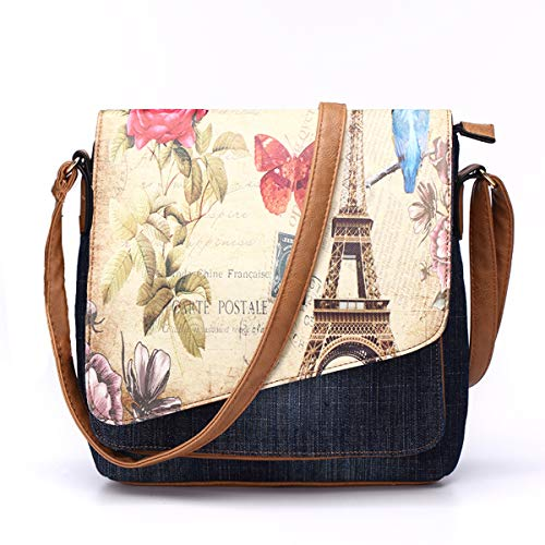 Crossbody Bag for Women Purse Demin Shoulder Bag Eiffel Tower Print Messenger Bag with Adjustable Strap