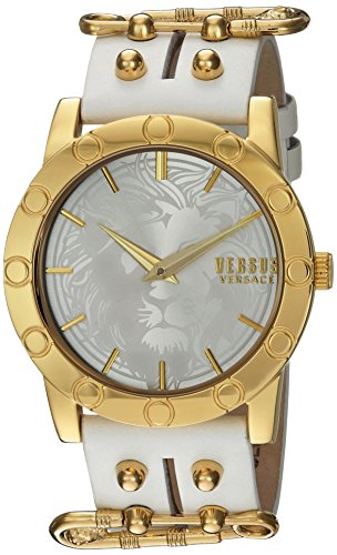 Versus by Versace Women's 'MIAMI' Quartz Stainless Steel and Leather Casual Watch, Color:White (Model: - Logo Lion Versace
