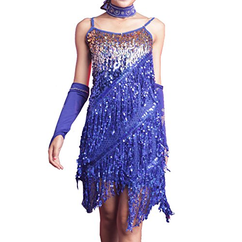 Wuchieal Girls Latin Dress Glitter Sequin Gowns Backless Party Full Dress Prom Dress Navy Blue ()