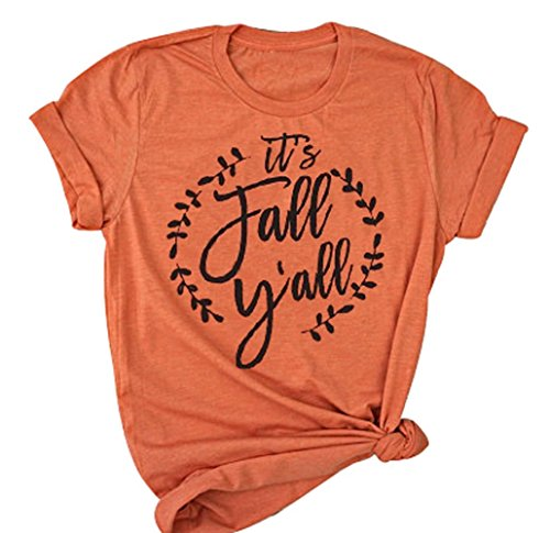 YUYUEYUE It's Fall Y'all Shirt Women Halloween T-Shirt Casual Short Sleeve Letter Funny Top Tee (XX-Large, Orange)