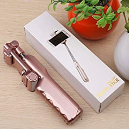 Selfie Stick, MOCREO Bluetooth Selfie Stick with 360 Degree Led Fill Light and Mirror, for iPhones, Samsung Galaxy s7 edge/s4 Android System Phones(Rose Gold)