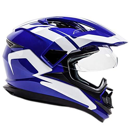 Shield Blue Dual - Full Face Dual Sport Helmet Off Road Motocross UTV ATV Motorcycle Enduro - Blue - Large