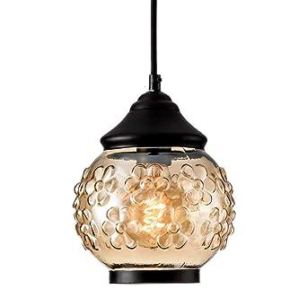 LULING - Lámpara de techo colgante de cristal marrón con ...