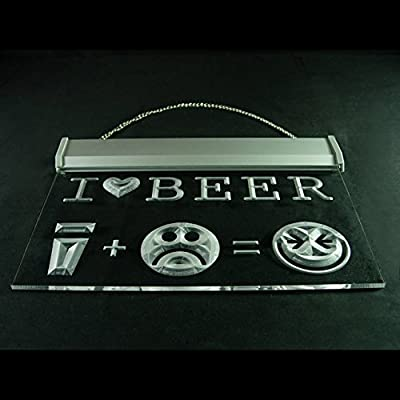 I Love Beer Happy Face Home Brewing Display Accessible LED Light Sign 170084 Color Yellow