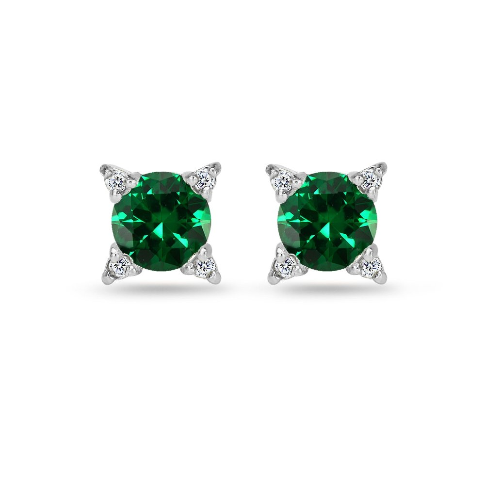 Sterling Silver Simulated Emerald & White Topaz Studded Solitaire Stud Earrings