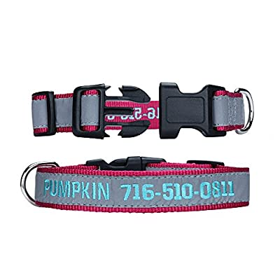LovelyDog Embroidered Personalized Dog ID Collar, 4 Adjustable Sizes: Extra-Small, Small, Medium,Large with dog Name Phone Number, Reflective pet pink dog collars for boy and girl dogs