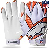 Franklin Sports Denver Broncos Youth NFL Football Receiver Gloves – Receiver Gloves For Kids – NFL Team Logos and Silicone Palm – Youth M/L Pair