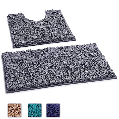 "LuxUrux 2 Piece Bath Mat Set –Extra-Soft Plush Bath Shower Bathroom Rug + U-Shaped Toilet Mat. 1"" Chenille Microfiber Material., TPR Surface, Super Absorbent. Machine Wash & Dry (DARK GRAY)"