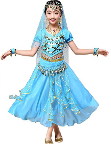 Astage Girl Belly Dance Sequin Indian Dance Costume Halloween Wear Sky Blue M -