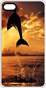 Silhouette Of Dolphin Jumping In the Ocean At Sunset White Rubber Case for Apple iPhone 4 or iPhone 4s