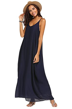 Image Unavailable. Image not available for. Colour  Qearal Summer Dresses  for Women Maxi Long Loose Strappy Chiffon Beach Sundress ... 92caee67d2cf