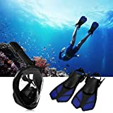 SKITCH 2017 Snorkeling Set - Full Face Snorkel Mask 180°View Panoramic Snorkeling Diving Mask with Adjustable Snorkel Fins See More Water World Larger Viewing Area