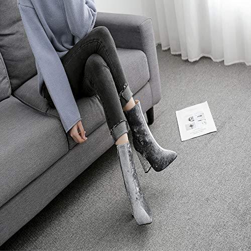 10cm Zapatos Para Botitas Botas De Nieve Cuadrado Tacón Brillante Botín Gris Mujer Luckygirls Martin Media Caña UAqW7W