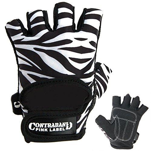 Contraband Pink Label 5277 Womens Design Series Zebra Print Lifting Gloves (PAIR) (White/Black, Medium)