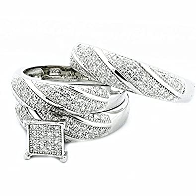 sterling silver trio wedding rings set his and her rings 3pc - Trio Wedding Ring Sets