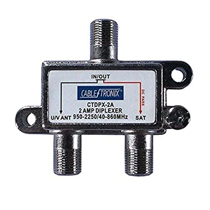 2-Way Diplexer 2-Amp Splitter Combiner 2 GHz 40-860 MHz 950-2250 MHz Commercial Grade DC Passive Both Ports Combines Signals from LNB Signal Satellite ...