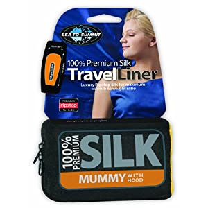"Sea to Summit Stretch Silk Liner (Mummy w/Hood & Box Foot 82"" x 36"") - Eucalptyus"