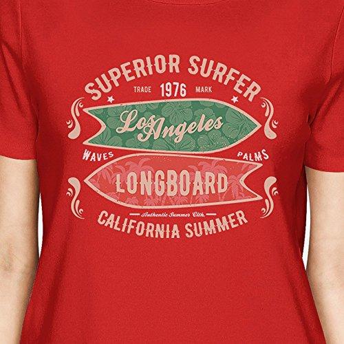 Longboard Camiseta Los Angeles para Surfer mujer una de de Printing corta manga 365 Superior pieza 45qw6R1y