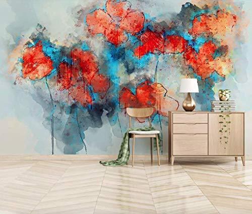 Amazon Com Murwall Abstract Art Wallpaper Poppy Floral Wall