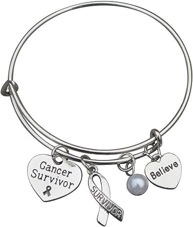 Cancer Jewelry Cancer Survivor  Bracelet Survivor Bracelet Cancer Awareness Bracelet Cancer Survivor Gift Cancer Ribbon Bracelet
