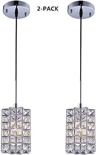 SHUPREGU Pendant Light Ceiling Crystal Light Fixture Chrome Finish Lighting for Kitchen Island, Dining Room, Bar, LED Bulb Not Included 2-Pack