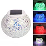 Solar Mosaic Ball Lights, NOT HOME® Color Changing LED Table Lights, Rechargeable Garden Lights, Waterproof Solar Night Lamps, for Parties/ Festival Decoration, Ideal Gift(5.12*4.13 inch) (Style 3)