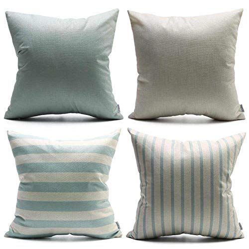 DANLIA Throw Pillow Covers 18x18 Set of 4, StripedStripe Stripped Solid Plain Beige Natural Cream GrayBlue Linen, Simply Decorative Cushion Casefor Sofa Couch Bedroom - Natural Beige Stripes