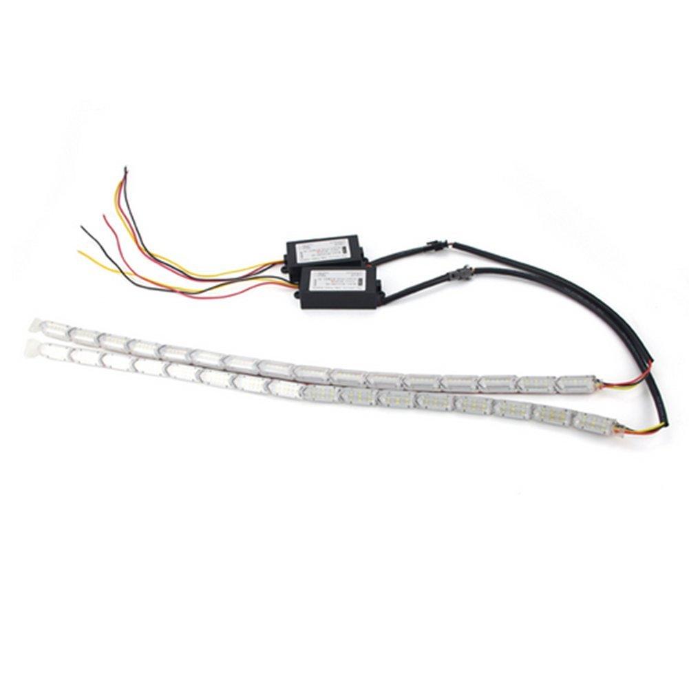 Huayin 2 x 31CM Auto Wasserdichte Flexible Wei/ß//Gelb Switch Run Fire Sequence Streifen lichter DRL Tagfahrlicht Signal Lichter Blinker Blinklicht For 10 Lights