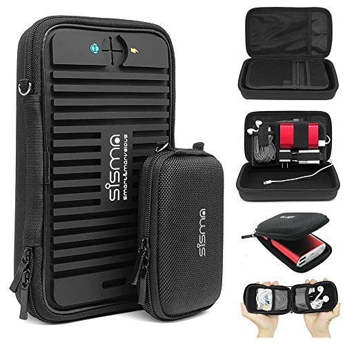 Sisma Travel Cords Organizers Small Electronics Accessories Carrying Bag for Cables Earbuds USB Sticks Leads Memory Cards, Black -Bundled Small Pouch SCB16128S-B