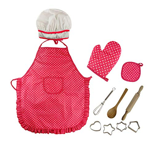 Vinciph Kids Chef Set,11 Pcs Kids Cooking and Baking Set Includes Apron,Chef Hat, Utensils, Cooking Mitt for Toddler Dress Up Chef Costume Career Role Play for 3 Year Old Girls and Up -