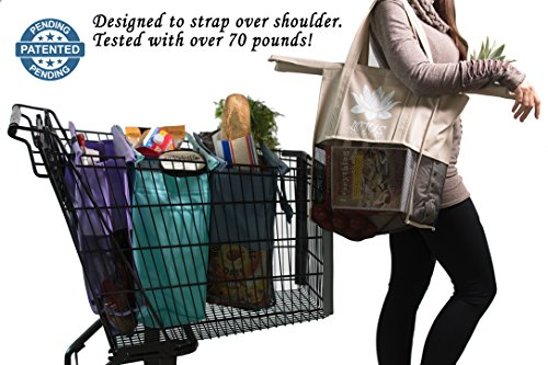 Lotus Trolley Bags -w/ LRG COOLER Bag & Egg/Wine holder! Reusable Grocery Cart Bags sized for USA. Eco-friendly 4-Bag Grocery Tote.100% Qlty GUARANTEE