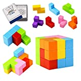 Yayuu Magnetic Building Blocks Cube Toys,7pcs Magnetic Bricks and 54 Smart Cards Puzzles Magnetic Tiles for Develop Kids Intelligence Stress Relief Toy Games Square Magnets Cube