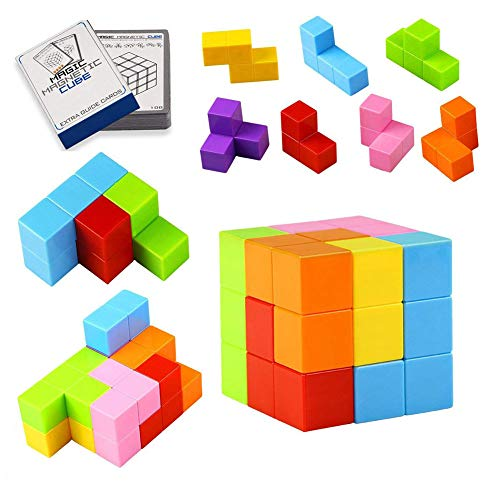 Yayuu Magnetic Building Blocks Cube Toys,7pcs Magnetic Bricks and 54 Smart Cards Puzzles Magnetic Tiles for Develop Kids Intelligence Stress Relief Toy Games Square Magnets Cube by Yayuu