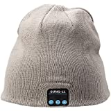 Sung-ll Soft and Warm Hat Wireless Beanie with Bluetooth Smart Cap Speaker Micro Headphone (Grey)