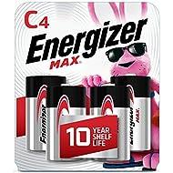 Energizer Max C Batteries, Premium Alkaline C Cell Batteries (4 Battery Count)